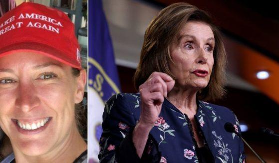 Slain protester Ashli Babbitt, left, and House Speaker Nancy Pelosi, right.