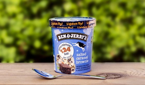 Ben & Jerry's salted caramel brownie ice cream is seen on a table in the stock image above.