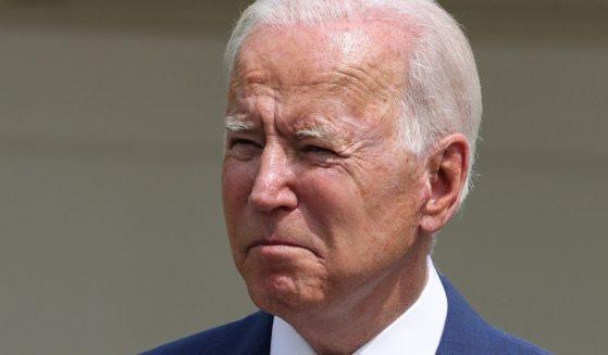 President Joe Biden speaks during an event in the Rose Garden of the White House in Washington on Monday.