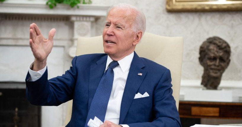 President Joe Biden speaks in the Oval Office of the White House in Washington, D.C., on Monday.