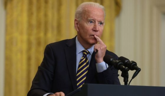 President Joe Biden speaks during an East Room event on troop withdrawal from Afghanistan at the White House July 8 in Washington, D.C.