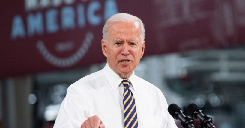 President Joe Biden speaks about American manufacturing and the American workforce after touring the Mack Trucks Lehigh Valley Operations Manufacturing Facility in Macungie, Pennsylvania, on Wednesday.