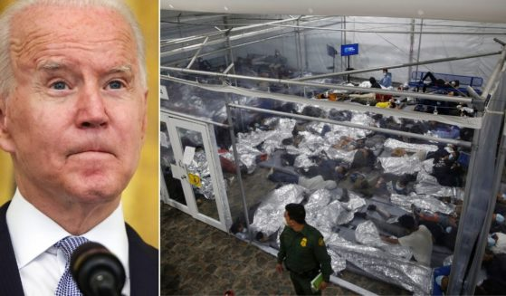 At left, President Joe Biden speaks about COVID-19 in the East Room of the White House in Washington on Thursday. At right, young children lie inside a pod at the Department of Homeland Security holding facility in Donna, Texas, on March 30.