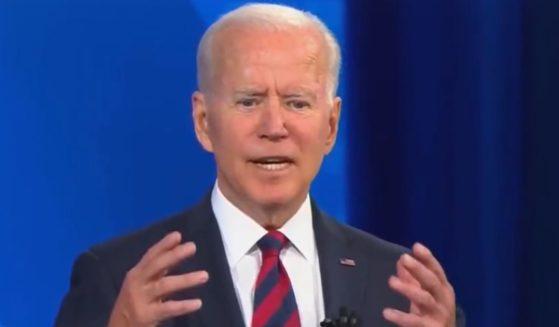 President Joe Biden answers a question during a CNN town hall on Wednesday.