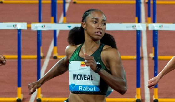 Brianna McNeal reacts after winning the 100 m hurdles women's event at the Morocco Diamond League athletics competition in the Stadium Prince Moulay Abdellah of Rabat on July 13, 2018.