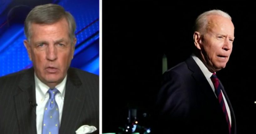 """Fox News senior political analyst Brit Hume, left, discusses President Joe Biden's approval ratings on """"Special Report"""" on Tuesday."""