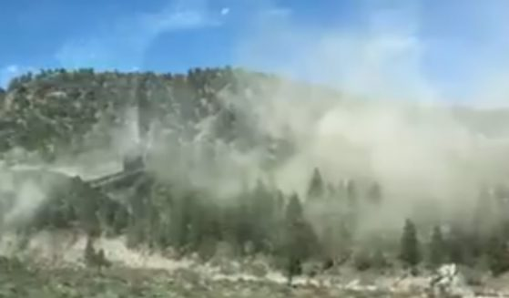 Rocks fall during an earthquake on the I-395 near Coleville, California.