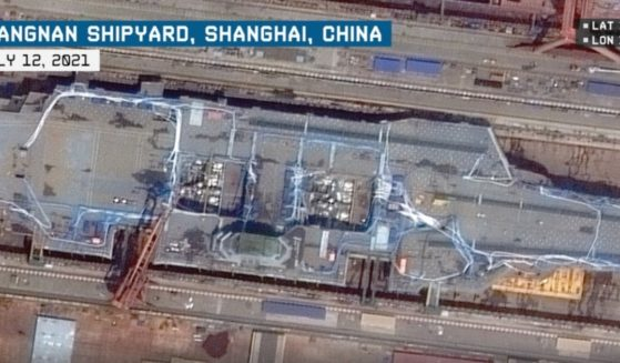 Satellite imagery shows the Jiangnan Shipyard in Shanghai, China, on July 12, 2021.