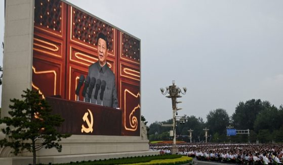 A screen shows Chinese President Xi Jinping making a speech during the celebration marking the 100th anniversary of the Chinese Communist Party at Tiananmen Square on Thursday in Beijing.