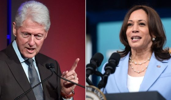 At left, former President Bill Clinton speaks at the Intrepid Sea-Air-Space Museum in New York City on Sept. 26, 2019. At right, Vice President Kamala Harris speaks in the Eisenhower Executive Office Building in Washington on Wednesday.