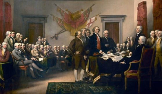 The signing of the Declaration of Independence is shown in Philadelphia on July 4, 1776, in this 1819 painting by John Trumbull.