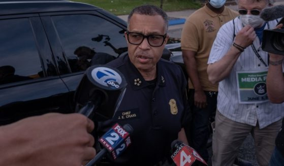 Then-Chief of Detroit Police James Craig speaks with the media about the protests taking place in Detroit on June 3, 2020.