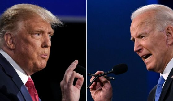 This combination of pictures created on Oct. 22, 2020, shows U.S. President Donald Trump and Democratic Presidential candidate and former US Vice President Joe Biden during the final presidential debate at Belmont University in Nashville on Oct. 22, 2020