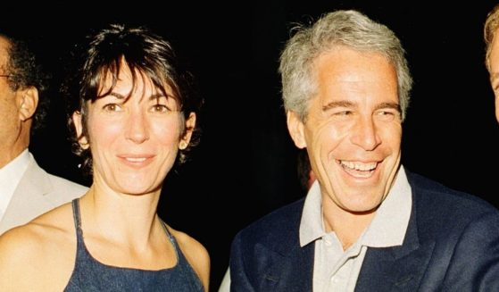 Ghislaine Maxwell and Jeffrey Epstein pose for a portrait during a party at the Mar-a-Lago club in Palm Beach, Florida, on Feb. 12, 2000.