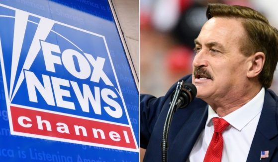 Fox News logo, left, and Mike Lindell, right.