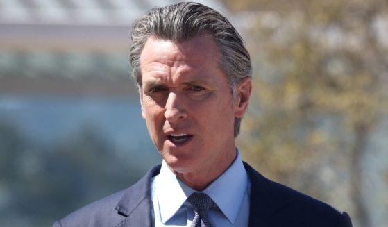 Democratic California Gov. Gavin Newsom speaks during a news conference at San Francisco General Hospital on June 10.