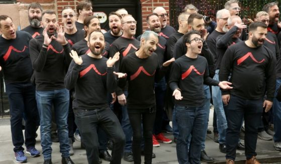 Members of the San Francisco Gay Men's Chorus perform at the Stonewall Inn in New York City's Greenwich Village neighborhood on April 30, 2019.