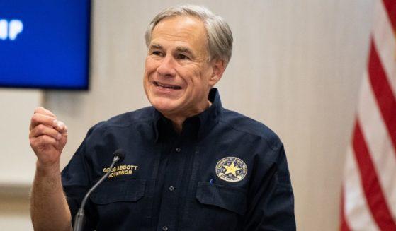 Republican Texas Gov. Greg Abbott speaks during a border security briefing on June 30, 2021, in Weslaco, Texas.