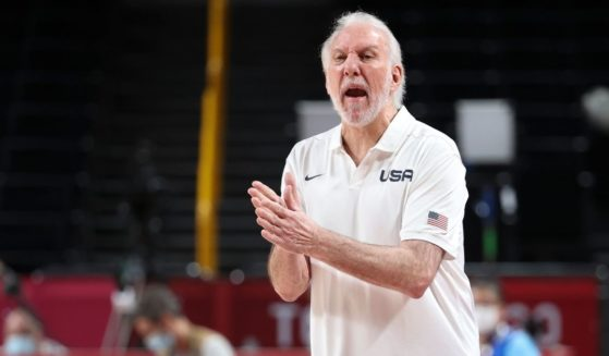 Gregg Popovich is seen during a basketball game between the United States and France at the Tokyo Olympic Games on Sunday in Saitama, Japan.