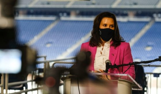 Michigan Gov. Gretchen Whitmer speaks to the media at Ford Field on April 6, 2021, in Detroit.