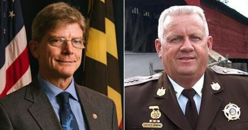 Frederick County, Maryland, Sheriff Chuck Jenkins, right, denounced the actions of Democratic County Councilman Kai Hagen, left.