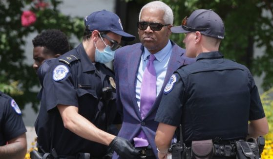 Democratic Rep. Hank Johnson of Georgia is arrested by U.S. Capitol Police during a protest outside Hart Senate Office Building on Capitol Hill in Washington on Thursday.