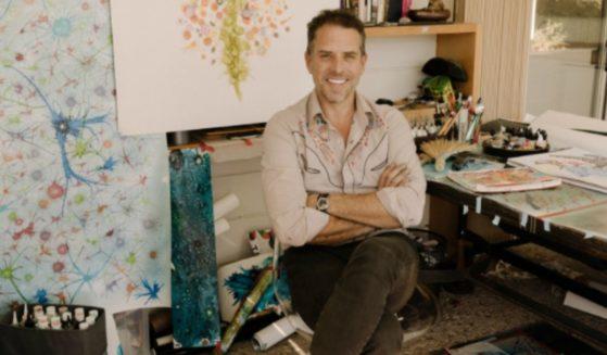 Hunter Biden, the son of President Joe Biden, sits in his art studio.