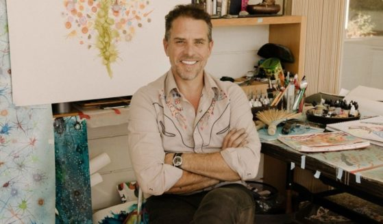 Hunter Biden is surrounded by his work in his Los Angeles art studio.