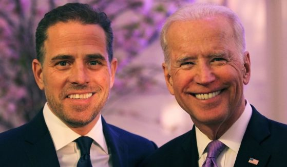 Hunter Biden and his father, then-Vice President Joe Biden, attend a World Food Program USA event at the Organization of American States in Washington on April 12, 2016.