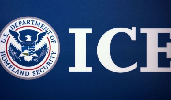 The Immigration and Customs Enforcement seal is seen on July 22, 2014, at ICE headquarters in Washington, D.C.
