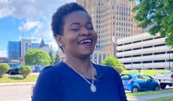 Democrat India Walton, a self-described democratic socialist who scored an upset win in Buffalo, New York's Democratic mayoral primary.