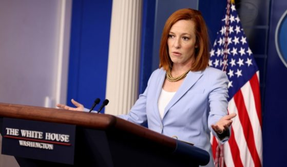 White House Press Secretary Jen Psaki gestures during a daily press briefing at the James Brady Press Briefing Room of the White House on May 21 in Washington, D.C.