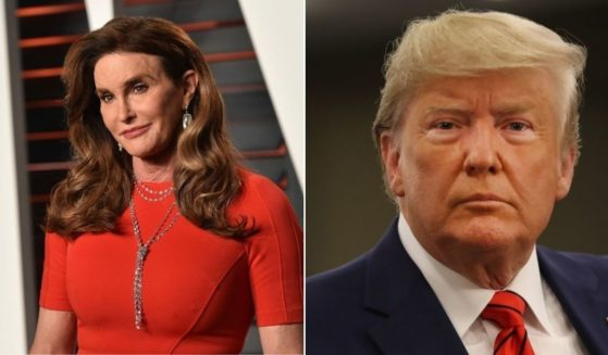 At left, Caitlyn Jenner arrives at the Vanity Fair Oscar Party on Feb. 28, 2016, in Beverly Hills, California. At right, then-President Donald Trump speaks to the media at the United Nations General Assembly in New York on Sept. 24, 2019.