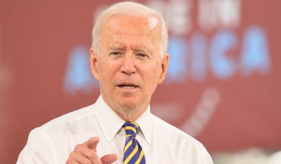 President Joe Biden speaks at Mack Truck Lehigh Valley Operations on Wednesday in Macungie, Pennsylvania.