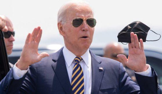 President Joe Biden arrives at Lehigh Valley International Airport in Allentown, Pennsylvania, on Wednesday.