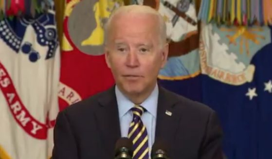 President Joe Biden hesitates as he explains why the U.S. entered Afghanistan.