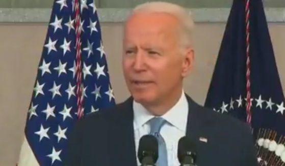 President Joe Biden speaks at the National Constitution Center in Philadelphia on Tuesday.