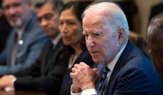 President Joe Biden speaks at the start of a Cabinet meeting in the Cabinet Room of the White House on Tuesday in Washington, D.C.