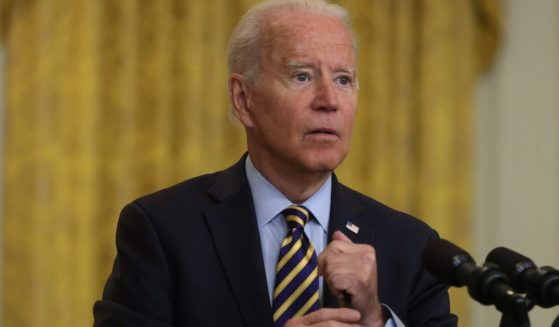President Joe Biden speaks during an East Room event on troop withdrawal from Afghanistan at the White House on Thursday in Washington, D.C.