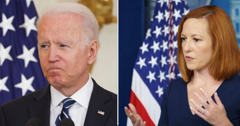 President Joe Biden speaks in the East Room of the White House and White House press secretary Jen Psaki speaks during a briefing at the White House in Washington, D.C., on Friday.