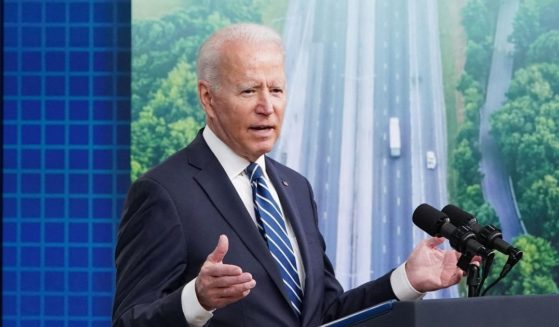 President Joe Biden speaks in the South Court Auditorium of the Eisenhower Executive Office Building, next to the White House, in Washington, D.C., on Friday.