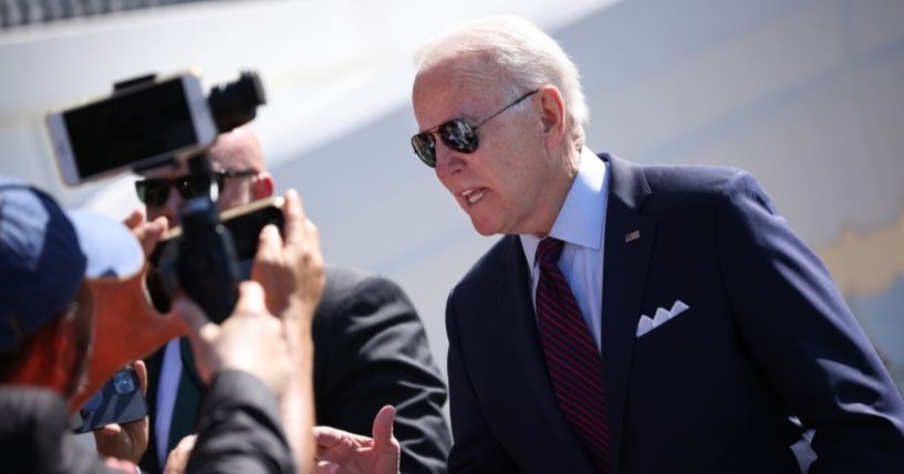 President Joe Biden talks with reporters while departing the White House on June 29, 2021, in Washington, D.C.