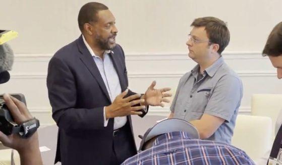 GOP gubernatorial candidate Vernon Jones talks with CNN field producer Devon Sayers.