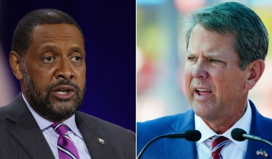 Georgia gubernatorial candidate Vernon Jones, left, and Gov. Brian Kemp, right.