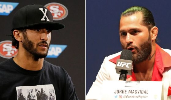 Then-San Francisco 49ers quarterback Colin Kaepernick, left, wears a T-shirt featuring Cuban dictator Fidel Castro while talking reporters in Santa Clara, California, on Aug. 26, 2016. MMA star Jorge Masvidal, right, speaks at a news conference before UFC 244 in New York City on Sept. 19, 2019.