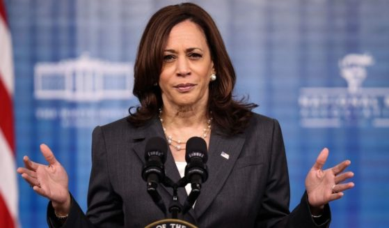 Vice President Kamala Harris gestures as she delivers remarks in the South Court Auditorium in the Eisenhower Executive Office Building on Tuesday in Washington, D.C.
