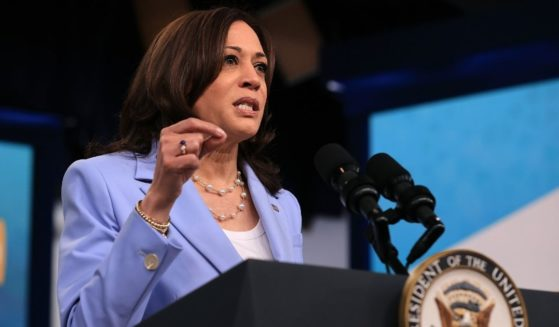 Vice President Kamala Harris delivers remarks via video link to the Generation Equality Forum in the South Court Auditorium of the Eisenhower Executive Office Building on Wednesday in Washington, D.C.