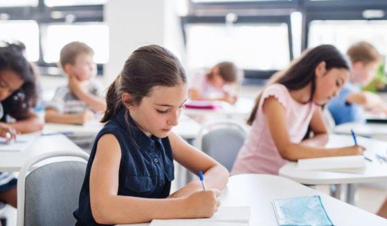 Schoolchildren sit at their desks in class and write.