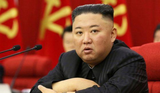North Korean leader Kim Jong Un speaks during a Workers' Party meeting in Pyongyang, North Korea, on June 18, 2021.