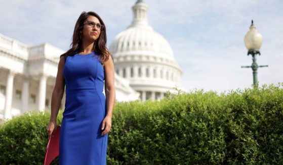 Rep. Lauren Boebert of Colorado waits for the beginning of a news conference in front of the U.S. Capitol on July 1, 2021, in Washington, D.C.